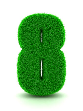 3d Rendering of Grass Number 8 on White Isolated Background. photo
