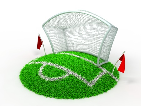 3D Concept Football Net Gate on White Background photo