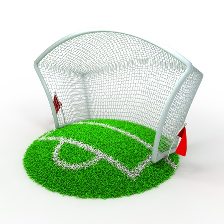 soccer goal: 3D Concept Football Net Gate on White Background