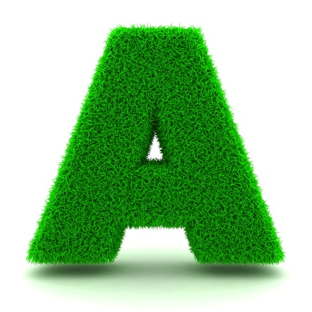 3D Green Grass Letter on White Background Stock Photo