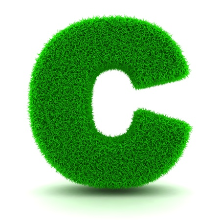 3D Green Grass Letter on White Background Stock Photo - 11875199