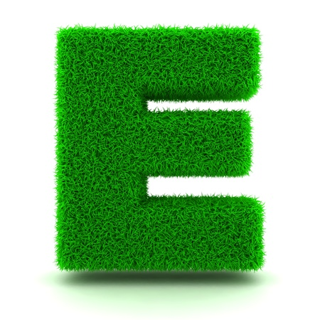 3D Green Grass Letter on White Background photo