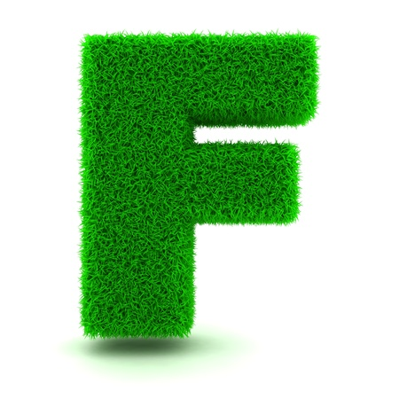 3D Green Grass Letter on White Background Stock Photo - 11875146