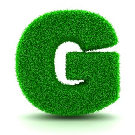 tipos de letras: Carta 3D hierba verde sobre fondo blanco