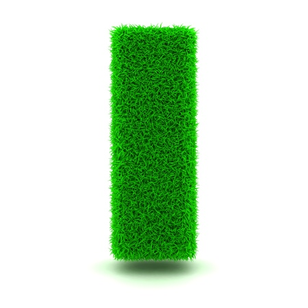 white letters: 3D Green Grass Letter on White Background Stock Photo