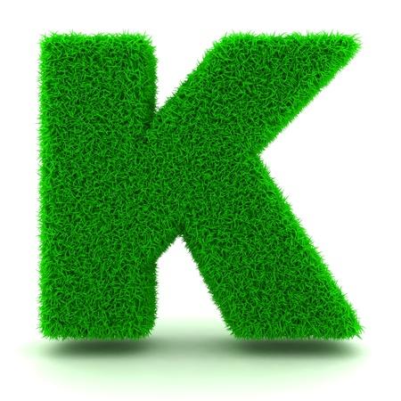 Carta 3D hierba verde sobre fondo blanco