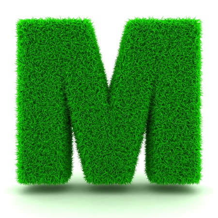 3d letters: 3D Green Grass Letter on White Background Stock Photo