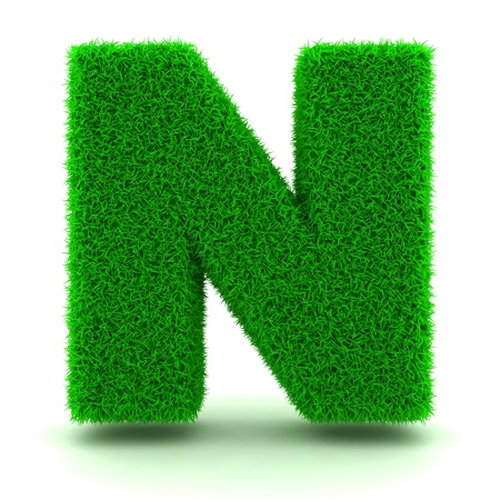 ecologist: 3D Green Grass Letter on White Background Stock Photo