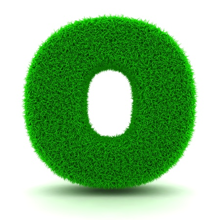 3D Green Grass Letter on White Background Stock Photo - 11875211