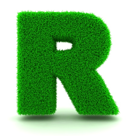 3D Green Grass Letter on White Background Stock Photo - 11875213