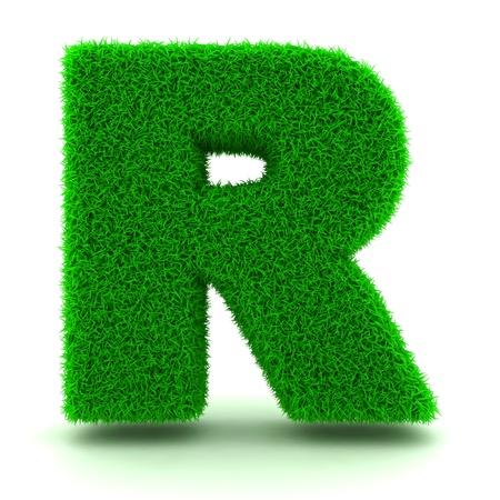 lettre alphabet: 3D Lettre herbe verte sur fond blanc