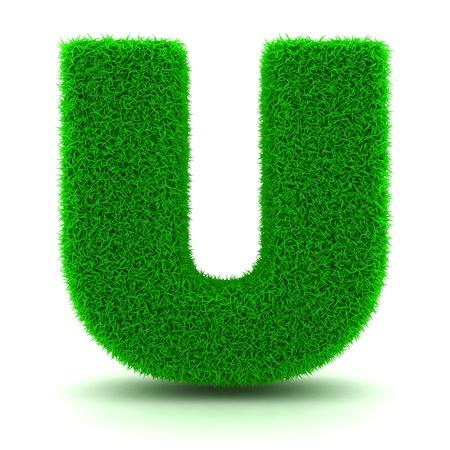 3D Grass Lettera verde su sfondo bianco photo