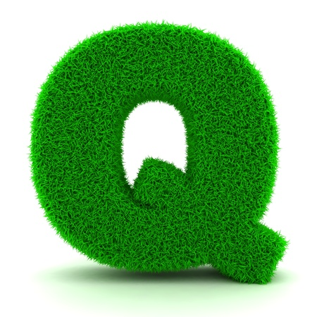 3D Green Grass Letter on White Background Stock Photo - 11875219