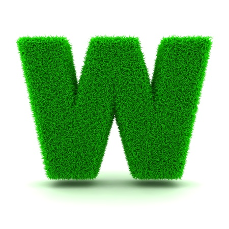 grass font: 3D Green Grass Letter on White Background Stock Photo