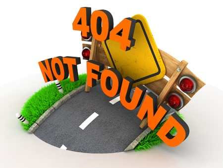404 Error 3D Concept on White Background photo