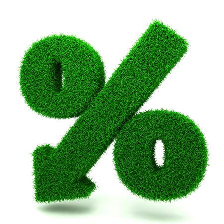 denoting: Beautiful Spring Percent Sign from Grass  Denoting a Decrease