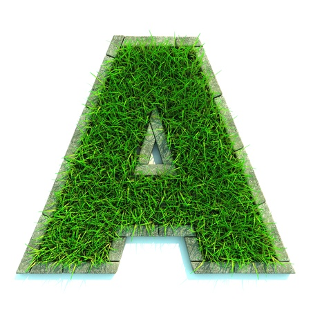Beautiful Spring Letters Made of Grass and Surrounded with  Border Stock Photo - 12296097
