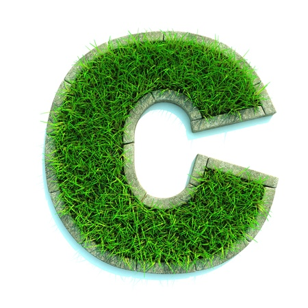 Beautiful Spring Letters Made of Grass and Surrounded with  Border