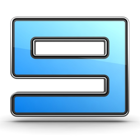 Blue Icon-Number 9 made in Modern Design in Metal Border Stock Photo - 12296111