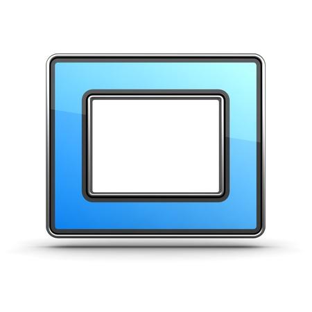 Letter O  Blue Icon in Modern Design in Metal Border Stock Photo - 12296126