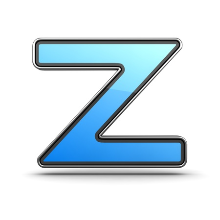 Letter Z  Blue Icon in Modern Design in Metal Border photo