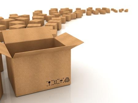 carton: Las cajas de cart�n en el fondo blanco Foto de archivo