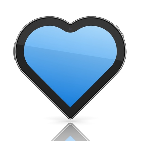 Tablet PC Designed in Form of Heart 3d Concept Stock Photo - 12296151