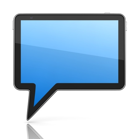 Tablet PC Designed in Form of Speech Bubble 3d Concept Stock Photo - 12296148
