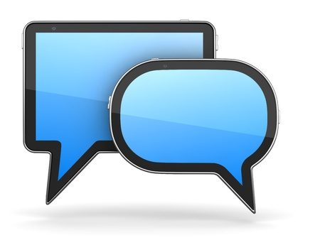 Tablet PC Designed in Form of Speech Bubble 3d Concept Stock Photo - 12296164