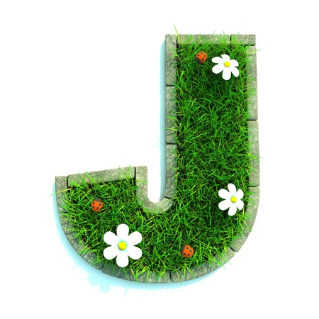 Beautiful Spring Letters made of Grass and Flowers Surrounded with  Border photo