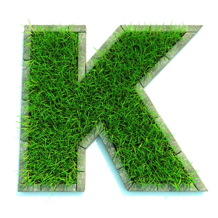 Mooie lente Letters en cijfers van gras en omgeven door Border
