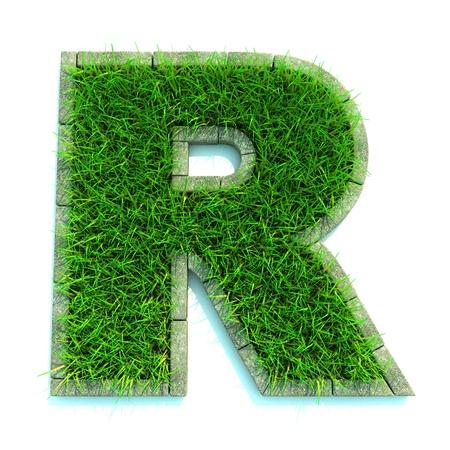 Mooie lente Letters en cijfers gemaakt van gras en omgeven met Grens
