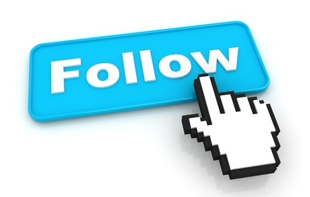 follow: Follow Me Button with Hand Shaped Cursor Stock Photo