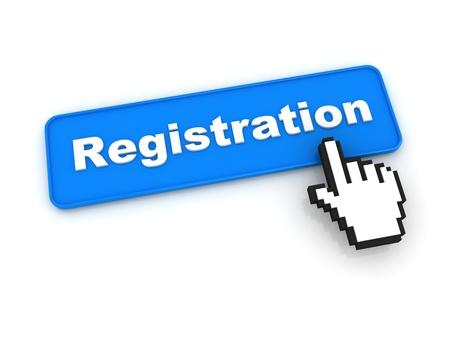 Registratie knop met de hand Cursor Stockfoto