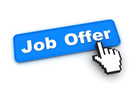 Job Offer Button with Hand Cursor Stock Photo - 12687557