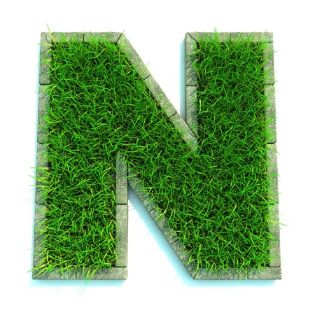 Beautiful Spring Letters and Numbers Made of Grass and Surrounded with  Border photo