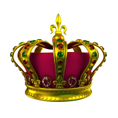 couronne royale: Gold Crown isol� sur blanc