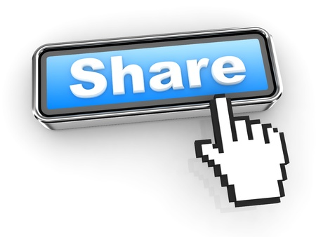 Share Button with  Hand Shaped mouse Cursor Stock Photo