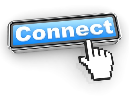 Connect Button with  Hand Shaped mouse Cursor Stock Photo - 12687635