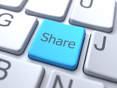 Share-Blue Button on Keyboard Stock Photo - 12687793