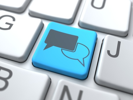 chat online: Speech Bubble-Blue Button on Keyboard. Social Media Concept.