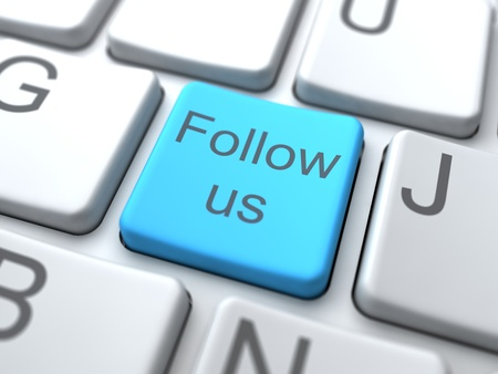 Follow us-Blue Button on Keyboard. Social Media Concept. photo