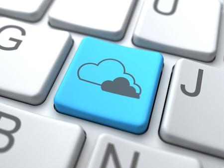 Cloud Computing- Blue Button on Keyboard.