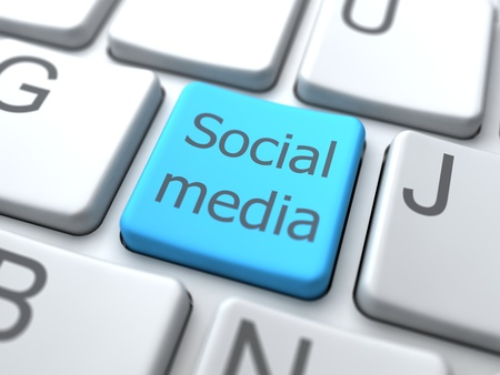 Social Media- Button on Keyboard.3D Concept. Stock Photo - 12687791