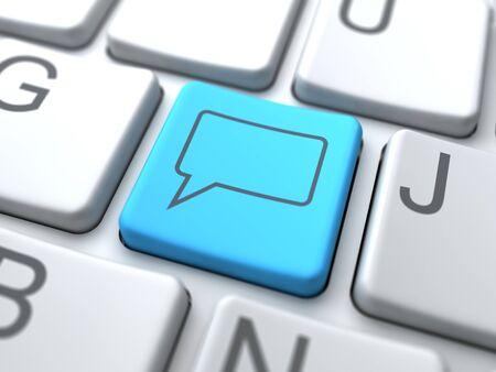 Speech Bubble-Blue Button on Keyboard. Social Media Concept. Stock Photo - 12687768