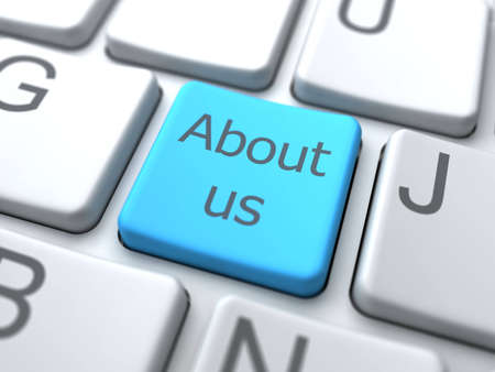 About Us-Blue Button on Keyboard. Social Media Concept. Stock Photo - 12687788