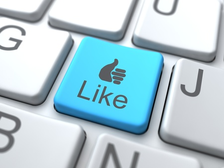 microblogging: Like-Blue Button on Keyboard. Social Media Concept. Stock Photo
