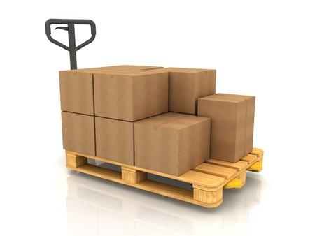 Boîtes en carton sur Transpalette isolé sur blanc