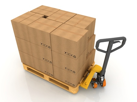 packer: Cardboard Boxes on Pallet Truck Isolated on White