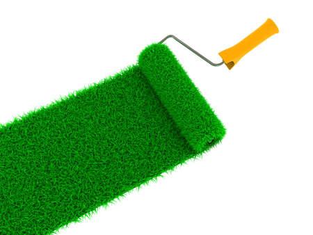 grassy: Grassy Green Road Drawn by Roller